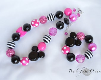 Minnie Mouse necklace bracelet Minnie Mouse chunky bubblegum necklace bracelet hot pink black Minnie Mouse baby girl toddler necklace ears