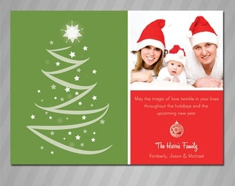 Printable Red, White and Green Christmas Tree Photo Greeting Card