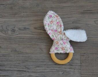 Floral Teething Ring - Wooden Baby Teether - Bunny Ears Teething Toy