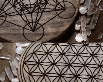 NEW! Two Sided Solid Wood Crystal Grid. Flower of Life and Metatrons Cube Sacred Geometry
