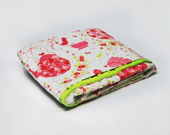 Pink and Green Minky Stroller Blanket, Minky Stroller Blanket, Minky Car Seat Blanket