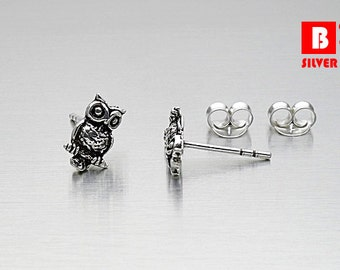 925 Sterling Silver Oxidized Earrings, Owl Earrings, Stud Earrings (Code : EG36)