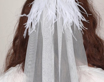 Ostrich Feather Wing Veil, Two Piece Tulle Veil, White Floor Length Bridal Veil