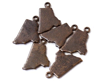 6x Antique Brass / Brown Patina Blank Rhode Island State Charms - M073/AB-RI
