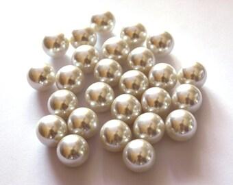 12x Vintage 14mm Cream Faux Pearls NO DRILL - B047