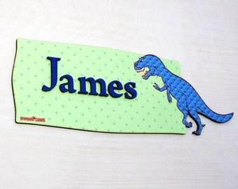 T-Rex Personalized Door Sign, Kids Room Dinosaur Name Plaque, Tyrannosaurus Rex collector Gift, Neon Green Sign, Boys Bedroom Decor