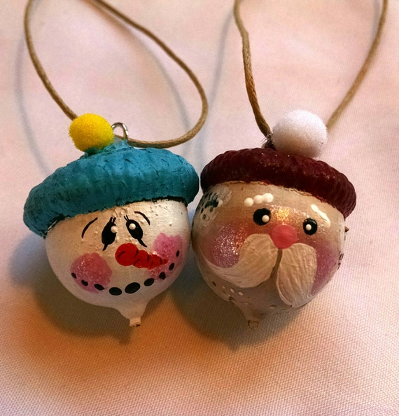 Painted Acorn Ornaments By Paintedpeaces On Etsy