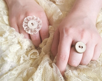 Shabby Chic Adjustable Ring ~ Vintage Cloth Button ~ Handmade by The Ivory Dolls