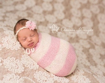 SALE Pink and Ivory Snuggle Sack and Tie Back, Mohair Wrap, Newborn Photo Prop, Mohair Newborn Prop, Mohair Cocoon, Newborn Sack