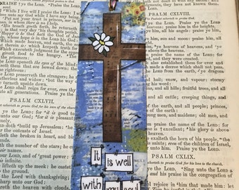Cross Bookmark, It is well with my soul, Bible Study Gift, Religious Bookmark