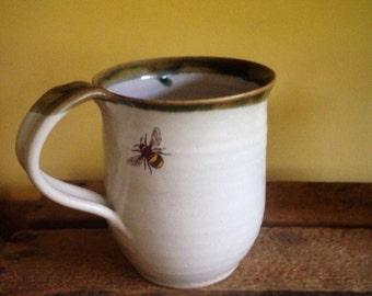 Pottery mug, cup stoneware bee