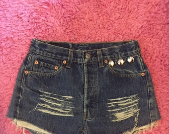 "High Waisted Levi 501 Shorts cut offs studded S / 28"" waist / Festival Vintage denim shorts distressed"