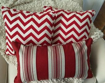 Red & Ivory Lumbar Pillow