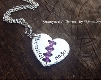 Hand Stamped 'Beautiful Mess' Aluminium Stitched Heart Necklace, Mended,Broken Heart Necklace,Stitched Heart, Broken Heart, Metal Jewellery.