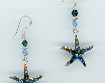 Abalone and Crystal Sea Star Earrings