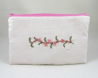 Embroidered pouch, embroidered clutch, pink floral purse, silk ribbon embroidery, bridesmaid pouch, gift for her, hand embroidery
