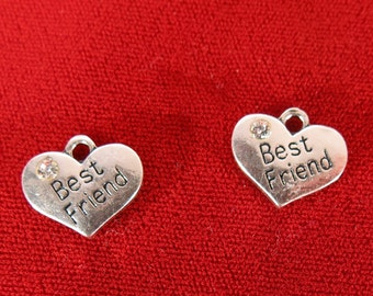 "BULK! 15pc ""best friend"" charms in antique silver style (BC449B)"