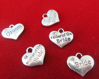 """BULK! 15pc """"wedding party"""" charms in antique silver style (BC242B)"""