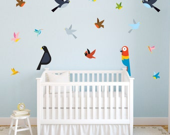 Colourful Tropical Birds Children's Bedroom Wall Sticker Decals