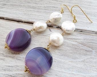 Freshwater pearl earrings, purple agate earrings, golden sterling silver 925 earrings, gemstone jewelry, dangle earrings, summer jewelry
