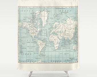 Blue and White Map Shower Curtain - Historical , blue and off white vintage map - Home Decor - classic, legible map, Bathroom - travel, blue