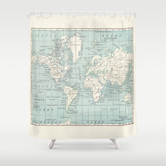 World Map Shower Curtain - Historical , blue and cream vintage map - Home Decor - Bathroom - travel, blue