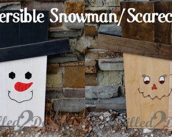 Reversible Pallet Snowman / Scarecrow - Pallet Winter and Fall decorations