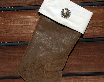 Western Christmas Stocking - Leather Tooled Fabric