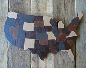 USA MAP america medium size with states in leather, earth tones, burlap on back, support in wood, wall decor, country western style