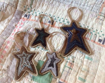 OOAK. Set of 4 Punch Needle Star Ornaments. Perfect Prim Punch Design. Valdani Threads.