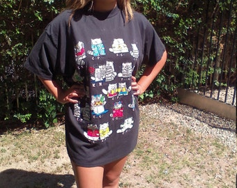 Cats,cat t-shirt,large,pajama shirt, Free US shipping