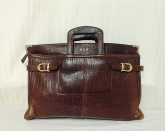 Free Ship,leather briefcase,Brown Moose Leather Briefcase Thick and Soft
