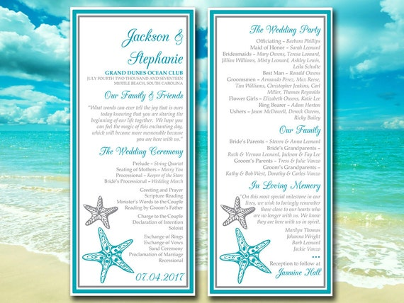 "Wedding Program Template ""Blissful Starfish"" Printable Wedding Program ..."
