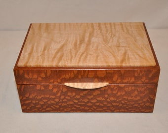 Handcrafted Wood Jewelry or Keepsake Box - Figured Maple and Lacewood