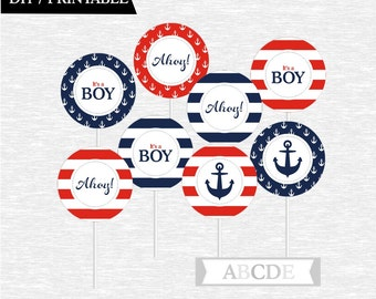 Instant Download Red and Navy Cupcake Toppers Baby Shower decorations Ahoy Its a boy Nautical baby Shower DIY Printable (PDNMO106)