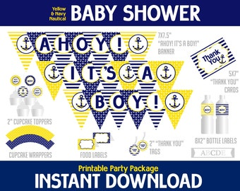 Yellow, Navy Nautical Boy Baby Shower Package, Banner, Cupcake toppers, wraps, Thank You tags and cards, Food labels ( PDN043 )