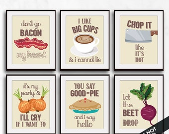 Bacon, Big Cups, Chop, I'll Cry, Good-Pie, Beet (Funny Kitchen Song Series) Set 6 Art Prints (Featured in Colors 29) Kitchen Art