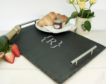 Slate Breakfast In Bed Tray - Romantic Gift - Lap Tray - Serving Tray - Rustic Slate - Meal Tray - Personalised - Custom - FREE UK DELIVERY!