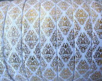1 Yard - White and Gold Damask FOE - 5/8 Fold Over Elastic - Foldover Elastic - printed FOE - Elastic by the yard - Headbands Supply