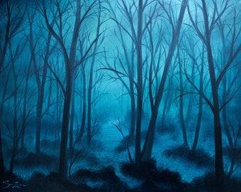 """UNFRAMED Original """"Blue Hour"""" Landscape Oil Painting"""