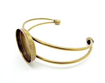 Bronze Cuff Bracelet, Bracelet Blank, Bronze Bangle, Pack of 1 or 5, Cabochon Cuff, 24mm Setting, Jewelry Supplies, Cuff Blanks, UK Seller