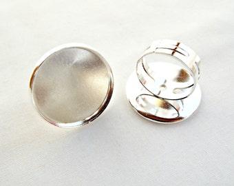 Silver Ring Blanks, 10 Cabochon Rings, Bezel Ring, Cab Tray Ring, 21mm Cabochon, Adjustable Rings, Cabochon Setting, Silver Ring, UK Seller