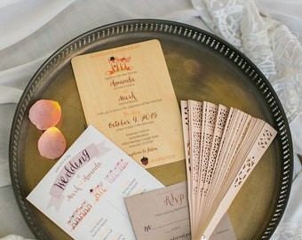 Fox Forest Wedding Invitations (Wood Print)