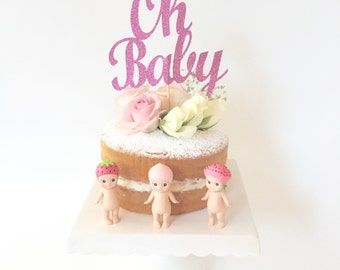 Oh Baby Bright Pink Glitter Cake Topper / Baby Shower Pink Cake Topper Decoration