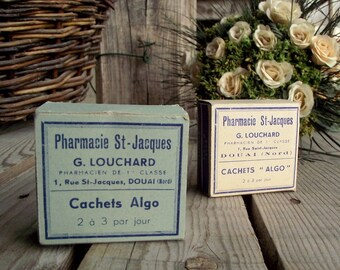 Antique Pharmacy Box - Set of 2 - Vintage Wedding Favour Box - Cardboard Apothecary Box - French Apothecary - Small Gift Box