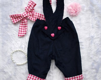 Baby Girls overalls, Baby girls pants,Vintage Inspired Fully lined  Navy Corduroy Overalls Size 1 and 2 with matching FREE topknot headband.