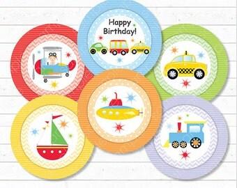 Transportation Cupcake Toppers, Transportation stickers, Transportation birthday, Transportation party, printable, INSTANT DOWNLOAD