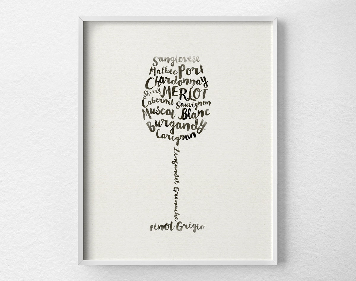 Wine print wine poster wine art kitchen decor kitchen art for Poster decoration murale