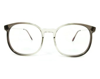 Vintage 1980s Clear Grey Round Oversized Eyeglass Frame - March Grey