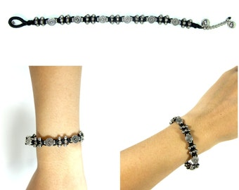 Silver Bracelets Adjustable Size, Wax String with flat round Beads Handmade Hmong Thailand Jewelry. JA1076